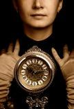 Retrato de la sepia de una muchacha Fotografía de archivo