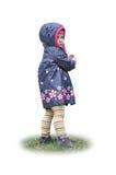 Retrato de la sonrisa feliz de la niña hermosa en hierba Fondo blanco aislado foto de archivo libre de regalías