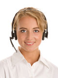 Retrato de la telefonista joven Imagen de archivo