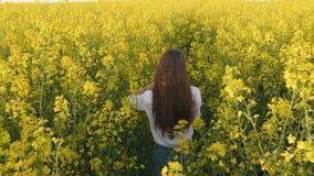 Retrato de la vista posterior de la chica joven que entra en campo de la colza Cámara lenta metrajes