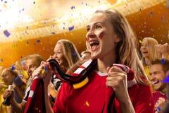 Retrato de las emociones de los aficionados al fútbol del estadio foto de archivo libre de regalías