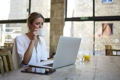 Retrato de las empresarias hermosas jovenes que gozan del café durante trabajo sobre el ordenador portátil portátil Fotografía de archivo libre de regalías