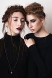 Retrato de las muchachas de la belleza de los pares con las trenzas Fotos de archivo libres de regalías