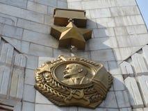 Retrato de Lenin en el ` de Kyiv del héroe de la ciudad del ` del obelisco Fotografía de archivo