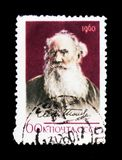Retrato de Leo Tolstoy - escritor clássico do russo, 50th aniversário da morte, cerca de 1960 Imagem de Stock