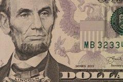 Retrato de Lincoln en billete de banco Foto de archivo libre de regalías