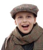Retrato de los accesorios del casquillo de la bufanda de la diversión del niño aislado Imagen de archivo libre de regalías