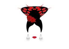 Retrato de los accesorios mexicanos o españoles modernos del arte de la pizca de la mujer, concepto de la belleza, backgroun tran Foto de archivo