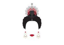 Retrato de los accesorios mexicanos o españoles modernos del arte de la pizca de la mujer, fondo transparente del ejemplo del vec Foto de archivo libre de regalías