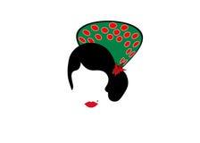 Retrato de los accesorios mexicanos o españoles modernos del arte de la pizca de la mujer, fondo transparente del ejemplo del vec Imagen de archivo libre de regalías