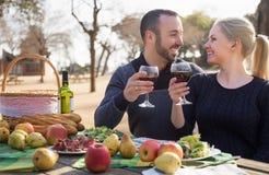 Retrato de los adultos jovenes que beben el vino al aire libre Fotos de archivo libres de regalías