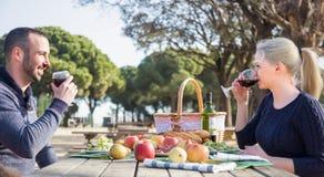 Retrato de los adultos jovenes que beben el vino al aire libre Foto de archivo