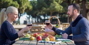 Retrato de los adultos jovenes que beben el vino al aire libre Foto de archivo libre de regalías