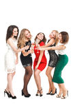 Retrato de los amigos alegres que tuestan en el Año Nuevo Imagenes de archivo