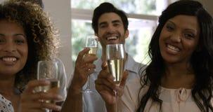 Retrato de los amigos felices que muestran las copas de vino almacen de video
