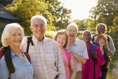 Retrato de los amigos mayores que caminan en campo foto de archivo