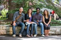 Retrato de los estudiantes universitarios que se sientan en campus Foto de archivo libre de regalías