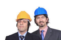 Retrato de los hombres de negocios con los sombreros duros Fotografía de archivo