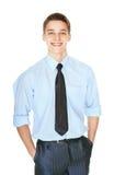Retrato de los jóvenes que ríen al hombre de negocios acertado Foto de archivo
