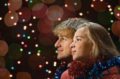 Retrato de los pares del amor de la Navidad Imágenes de archivo libres de regalías