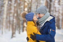Retrato de los pares jovenes que parecen cara a cara en un bosque en el invierno Imagen de archivo libre de regalías