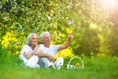 Retrato de los pares mayores felices que tienen comida campestre fotos de archivo libres de regalías