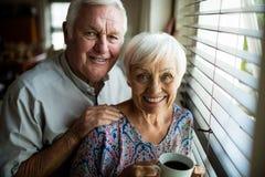 Retrato de los pares mayores que colocan la ventana cercana Imágenes de archivo libres de regalías