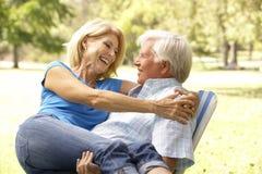 Retrato de los pares mayores que disfrutan de día en parque imágenes de archivo libres de regalías