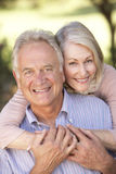 Retrato de los pares mayores románticos que se relajan en campo Imagen de archivo libre de regalías