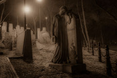 Retrato de los pares - monumento de piedra en el cementerio Imágenes de archivo libres de regalías