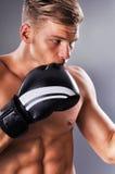 Retrato de los retrocesos practicantes del combatiente muscular hermoso Foto de archivo