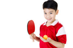 Retrato de los tenis de mesa asiáticos felices del juego del muchacho Imagen de archivo
