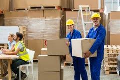 Retrato de los trabajadores de la entrega que llevan la caja de cartón fotografía de archivo libre de regalías