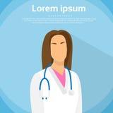 Retrato de médico Profile Icon Female plano Fotos de archivo