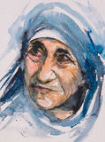 Retrato de madre Teresa stock de ilustración