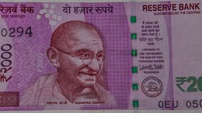 Retrato de Mahatma Gandhi en billete de banco imágenes de archivo libres de regalías