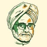 Retrato de Manmohan Singh Foto de archivo libre de regalías