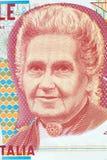 Retrato de Maria Montessori do dinheiro italiano imagem de stock