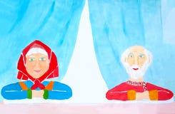 Retrato de mayores felices y sanos de los abuelos con el pelo gris y la ropa brillante que se sientan y que escuchan cuidadosamen ilustración del vector