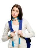 Retrato de medio cuerpo del adolescente con la mochila azul Imagen de archivo