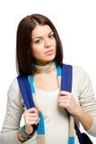 Retrato de medio cuerpo del adolescente con la mochila azul Imagen de archivo libre de regalías