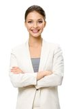 Retrato de medio cuerpo del ejecutivo de sexo femenino con las manos cruzadas Imágenes de archivo libres de regalías