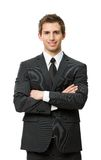 Retrato de medio cuerpo del hombre de negocios con las manos cruzadas Imagen de archivo libre de regalías
