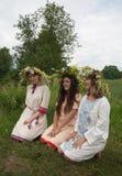 Retrato de meninas da beleza no chaplet da camomila fotos de stock royalty free