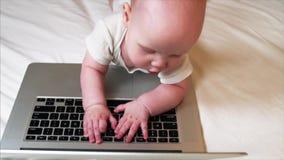 Retrato de 6 meses adoráveis do bebê que encontra-se na cama e que joga com portátil vídeos de arquivo