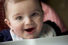 Retrato de 8 meses de sorriso velho do bebê Imagem de Stock Royalty Free