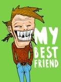 Retrato de mi mejor amigo Conveniente para un cartel, un regalo o un dibujo en una camiseta stock de ilustración