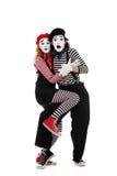 Retrato de mimes asustados Imagen de archivo libre de regalías
