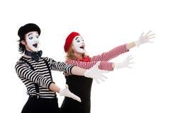 Retrato de mimes felices Foto de archivo