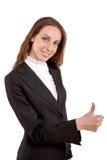 Retrato de mostrar joven atractivo del estudiante pulgares para arriba Imagen de archivo